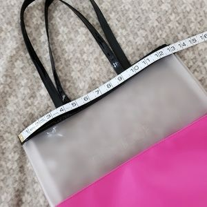 Clinique Bags - Clinique Clear And Pink Tote Black Trim/Handles